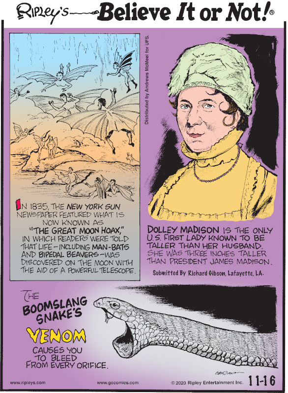 """1. In 1835, the New York Sun newspaper featured what is now known as """"The Great Moon Hoax,"""" in which readers were told that life - including man-bats and bipedal beavers - was discovered on the moon with the aid of a powerful telescope. 2. Dolley Madison is the only U.S. First Lady known to be taller than her husband. She was three inches taller than President James Madison. Submitted by Richard Gibson, Lafayette, LA. 3. The boomslang snake's venom causes you to bleed from every orifice."""