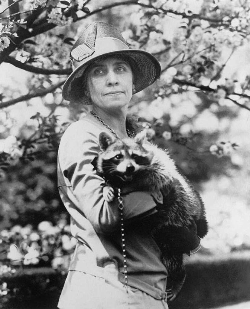Grace Coolidge and Rebecca the Raccoon