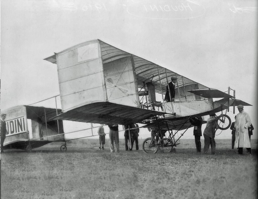 Harry Houdini with airplane