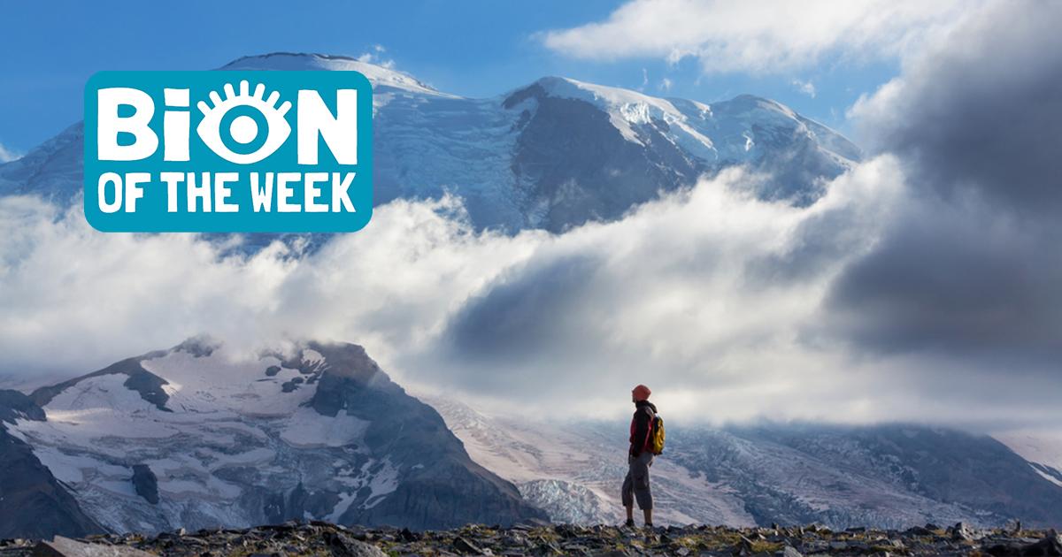 Hiker on Mount Rainier