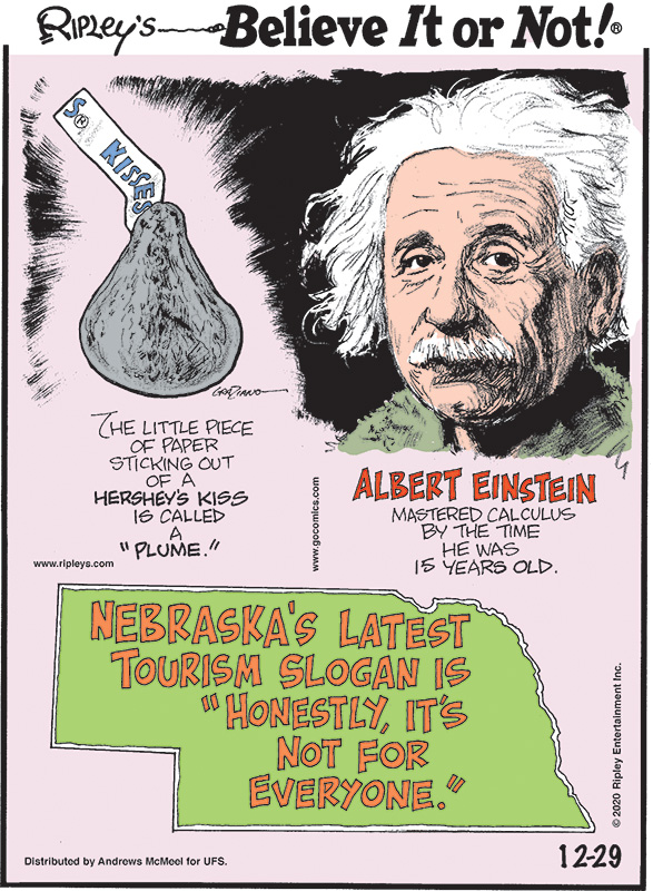 """1. The little piece of paper sticking out of a Hershey's Kiss is called a """"plume."""" 2. Albert Einstein mastered calculus by the time he was 15 years old. 3. Nebraska's latest tourism slogan is """"honestly, it's not for everyone."""""""