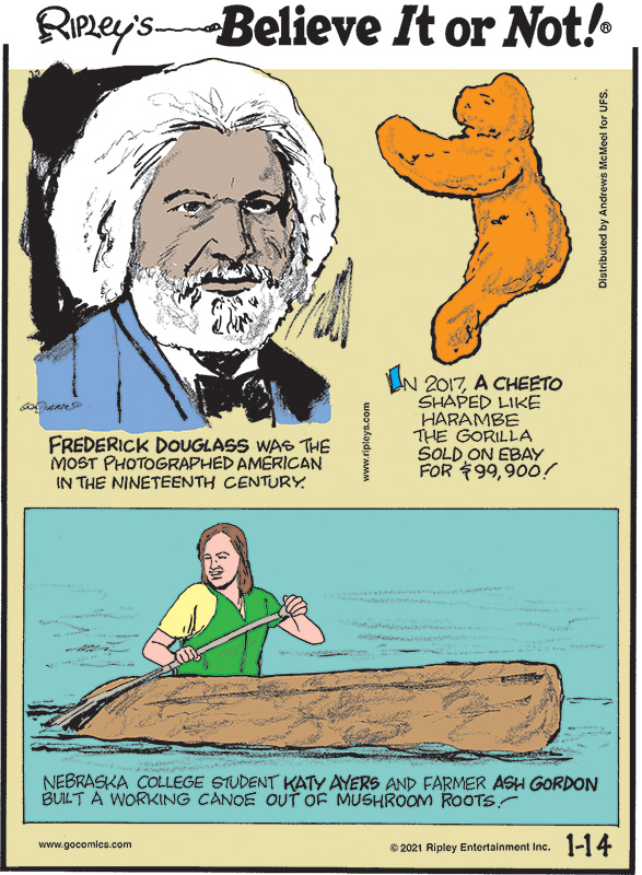 1. Frederick Douglass was the most photographed American in the nineteenth century. 2. In 2017, a Cheeto shaped like Harambe the gorilla sold on EBay for $99,900! 3. Nebraska college student Katy Ayers and farmer Ash Gordon built a working canoe out of mushroom roots!