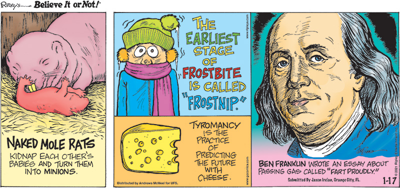 """1. Naked mole rats kidnap each other's babies and turn them into minions. 2. The earliest stage of frostbite is called """"frostnip."""" 3. Tyromancy is the practice of predicting the future with cheese. 4. Ben Franklin wrote an essay about passing gas called """"Fart Proudly."""" Submitted by Jason Irelan, Orange City, FL."""