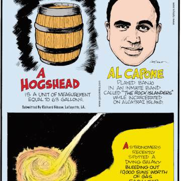 """1. A hogshead is a unit of measurement equal to 63 gallons. Submitted by Richard Gibson, Lafayette, LA. 2. Al Capone played banjo in an inmate band called """"The Rock Islanders"""" while incarcerated on Alcatraz Island. 3. Astronomers recently spotted a dying galaxy bleeding out 10,000 suns' worth of gas each year. Submitted by Nate Westbury, Minneapolis, MN."""