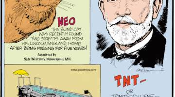 1. Neo the blind cat was recently found two streets away from his Lincoln, England, home after being missing for five years! Submitted by Nate Westbury, Minneapolis, MN. 2. French artist Benedetto Bufalino transformed a public bus into a swimming pool! 3. TNT - or trinitrotoluene - was invented in 1863 by German chemist Joseph Wilbrand as a yellow dye, and nobody discovered its explosive properties for nearly 30 years.