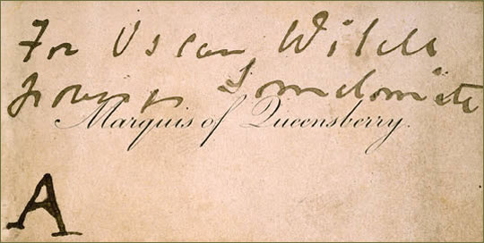 Marquess of Queensberry's calling card