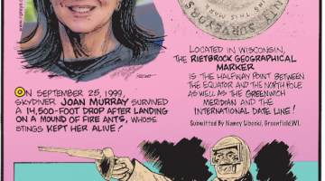 1. On September 25, 1999, skydiver Joan Murray survived a 14,500-foot drop after landing on a mound of fire ants, whose stings kept her alive! 2. Located in Wisconsin, the Rietbrock Geographical Marker is the halfway point between the equator and the North Pole as well as the Greenwich Meridian and the International Date Line! Submitted by Nancy Libecki, Greenfield, WI. 3. In the early 20th century, after replacing metal bullets with wax versions, pistol dueling regained popularity!