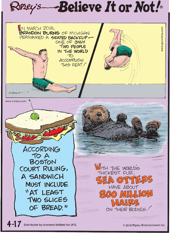 """1. In March 2018, Brandon Burns of Michigan performed a seated backflip - one of only two people in the world to accomplish this feat! 2. According to a Boston court ruling, a sandwich must include """"at least two slices of bread."""" 3. With the world's thickest fur, sea otters have about 800 million hairs on their bodies!"""