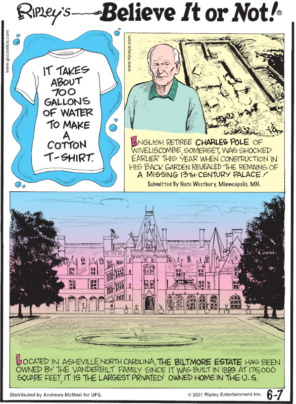 1. It takes about 700 gallons of water to make a cotton t-shirt. 2. English retiree Charles Pole of Wiveliscombe, Somerset, was shocked earlier this year when construction in his back garden revealed the remains of a missing 13th-century palace! Submitted by Nate Westbury, Minneapolis, MN. 3. Located in Asheville, North Carolina, the Biltmore Estate has been owned by the Vanderbilt family since it was built in 1889. At 175,000 square feet, it is the largest privately owned home in the U.S.