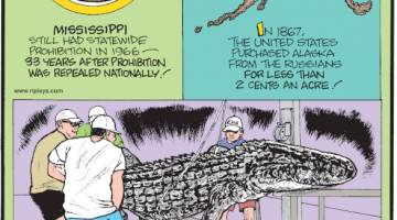 1. Mississippi still had statewide prohibition in 1966 - 33 years after prohibition was repealed nationally! 2. In 1867, the United States purchased Alaska from the Russians for less than 2 cents an acre! 3. The stomach contents of a 25-year-old, 12-foot-long, 445-pound alligator recently caught in South Carolina revealed five dog tags, one bullet casing, one spark plug, scores of turtle shells and even bobcat claws!