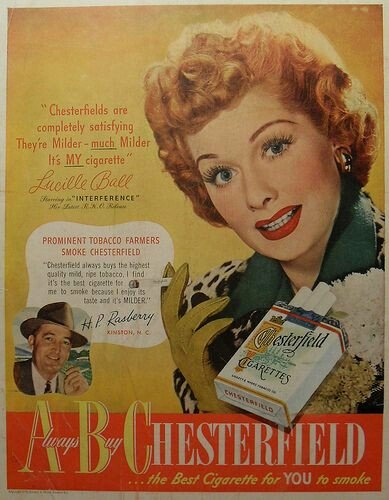 Lucille Ball Chesterfield cigarettes ad