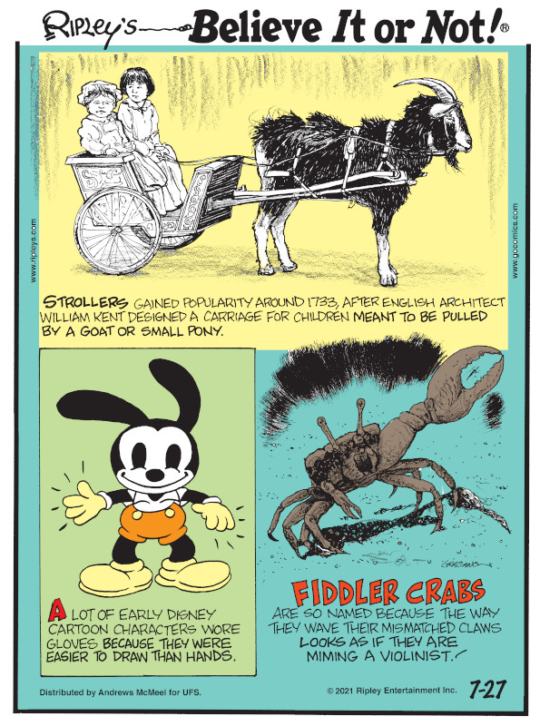 1. Strollers gained popularity around 1733, after English architect William Kent designed a carriage for children meant to be pulled by a goat or small pony. 2. A lot of early Disney cartoon characters wore gloves because they were easier to draw than hands. 3. Fiddler crabs are so named because the way they wave their mismatched claws looks as if they are miming a violinist!