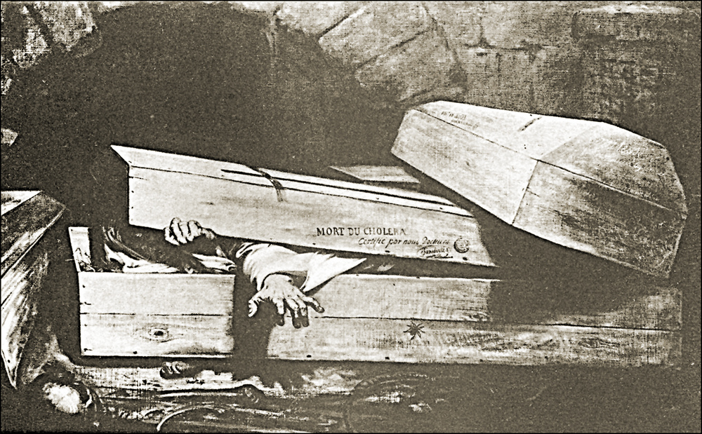 Vintage Photo of Hand Reaching Out of Coffin