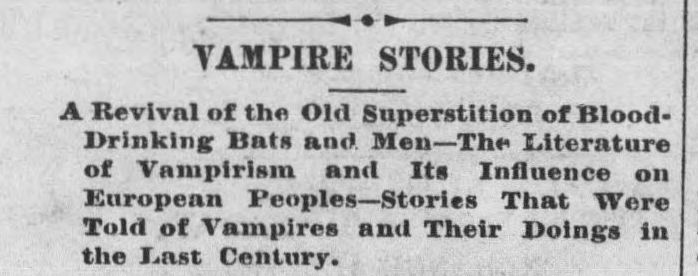 1884 Newspaper Clipping on Vampires
