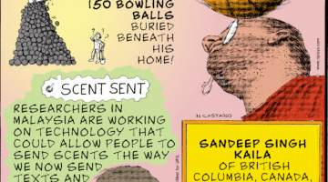 1. David Olson of Norton Shores, Michigan, made a surprising discovery while renovating his house in July 2021 - more than 150 bowling balls buried beneath his home! 2. Scent Sent - Researchers in Malaysia are working on technology that could allow people to send scents the way we now send texts and emails. 3. Sandeep Singh Kaila of British Columbia, Canada, can balance a spinning basketball on a toothbrush held in his mouth for longer than a minute.