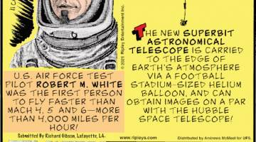 1. U.S. Air Force test pilot Robert M. White was the first person to fly faster than Mach 4.5 and 6 - more than 4,000 miles per hour! Submitted by Richard Gibson, Lafayette, LA. 2. The new Superbit Astronomical Telescope is carried to the edge of earth's atmosphere via a football stadium-sized helium balloon, and can obtain images on a par with the Hubble Space Telescope! 3. Deep Dive Dubai in the UAE is the deepest diving pool in the world. It measures 196 feet and 10 inches deep, holds approximately 3.7 million gallons of water, and features and entire underwater city!