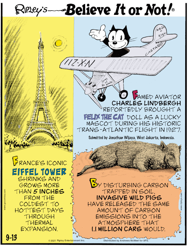 1. France's iconic Eiffel Tower shrinks and grows more than 5 inches from the coldest to hottest days through thermal expansion. 2. Famed aviator Charles Lindbergh reportedly brought a Felix the Cat doll as a lucky mascot during his historic trans-Atlantic flight in 1927. Submitted by Jonathan Wijaya, West Jakarta, Indonesia. 3. By disturbing carbon trapped in soil, invasive wild pigs have released the same amount of carbon emissions into the atmosphere that 1.1 million cars would.