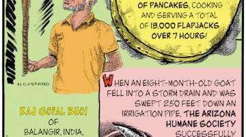 1. On June 24, 2021, Midwestern supermarket chain Hy-Vee prepared the world's largest serving of pancakes, cooking and serving a total of 13,000 flapjacks over 7 hours! 2. Raj Gopal Bhoi of Balangir, India, balanced a hockey stick on his right index finger for 3 hours, 35 minutes. 3. When an eight-month-old goat fell into a storm drain and was swept 250 feet down an irrigation pipe, the Arizona Humane Society successfully saved it at the end of a two-day rescue operation.