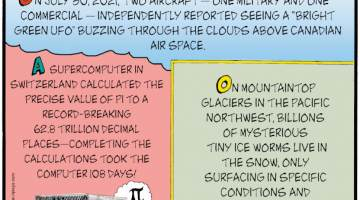 """1. On July 30, 2021, two aircraft - one military and one commercial - independently reported seeing a """"bright green UFO"""" buzzing through the clouds above Canadian air space. 2. A supercomputer in Switzerland calculated the precise value of pi to a record-breaking 62.8 trillion decimal places - completing the calculating took the computer 108 days! 3. On mountaintop glaciers in the Pacific Northwest, billions of mysterious tiny ice worms live in the snow, only surfacing in specific conditions and perplexing scientists."""