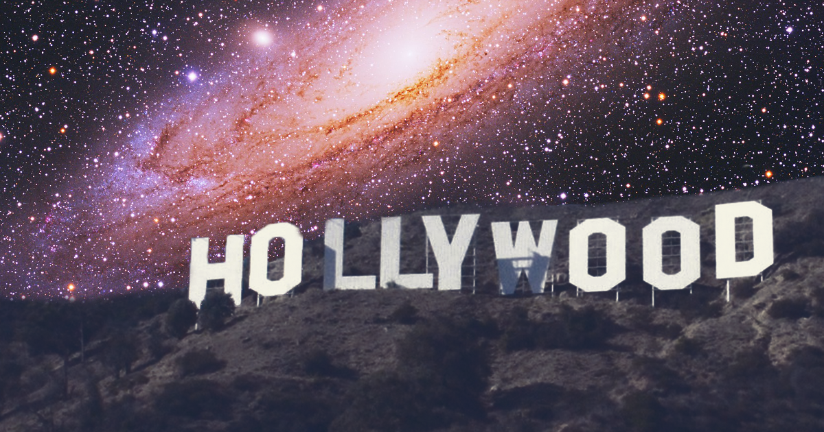 Hollywood Sign with space background