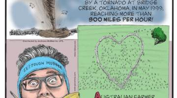 1. The fastest wind speed ever recorded was produced by a tornado at Bridge Creek, Oklahoma, in May 1999, reaching more than 300 miles per hour! 2. Australian farmer Ben Jackson honored his late aunt by arranging a herd of sheep into a heart viewable from the air! 3. Vegan speed eater Mike Jack peeled and ate a banana without using his hands in just 37.782 seconds!